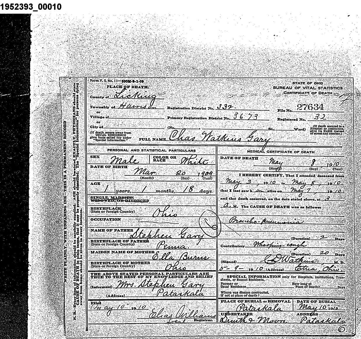 Geary family vital records gary charles watkins death 1betcityfo Image collections