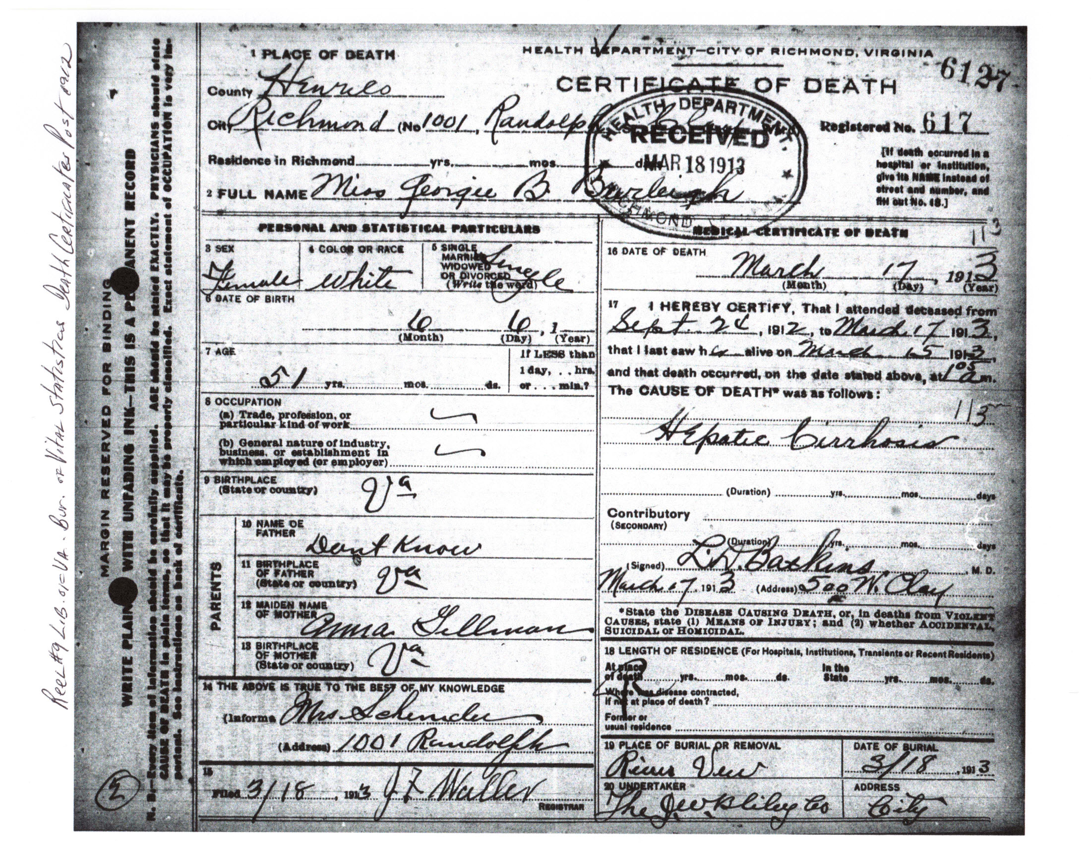 Burley Family Death Records