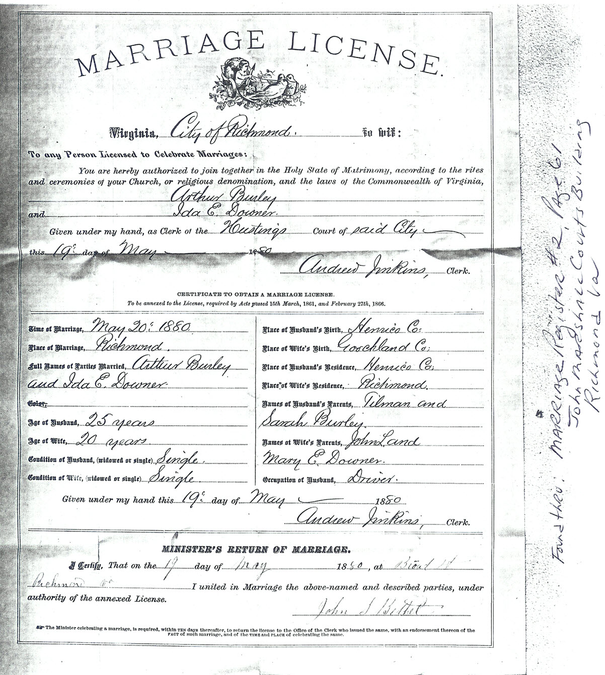 Burley Family Marriage Records