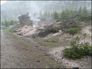 Picture of one of the many geyser areas.