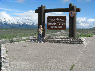 Picture of Jim at entrance to Grand Teton National Park.