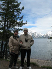 Picture of Pat and Jim with Jackson Lake in the background.