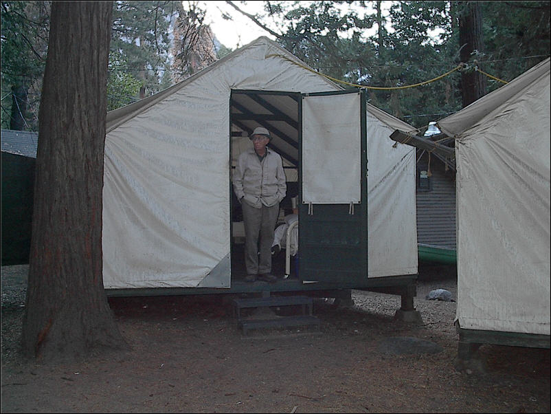 Outside our tent cabin in Yosemite National Park. & Yosemite National Park - Fall 2002